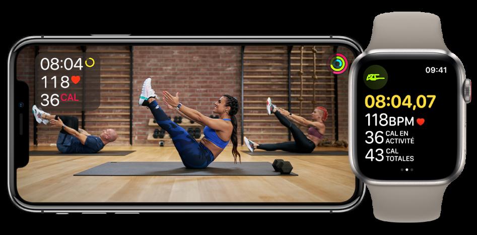 Exercice de gainage Fitness+ sur l'iPhone et l'AppleWatch, affichant le temps restant, la fréquence cardiaque et les calories brûlées.
