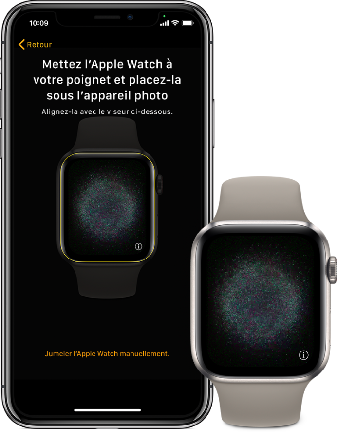 Un iPhone et une AppleWatch affichant leur écran de jumelage.