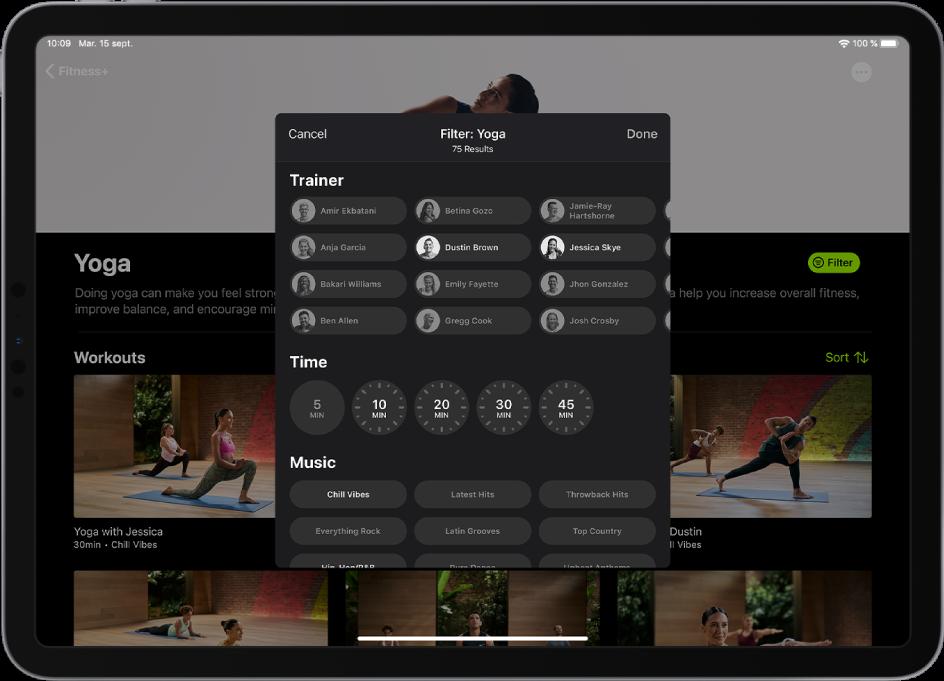 iPad affichant des options de filtrage pour des exercices de yoga dans Fitness+.