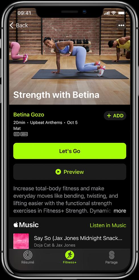 Un écran d'exercice de renforcement montrant le bouton «Let's Go», le bouton «Preview», une description de l'exercice et la playlist de l'exercice.