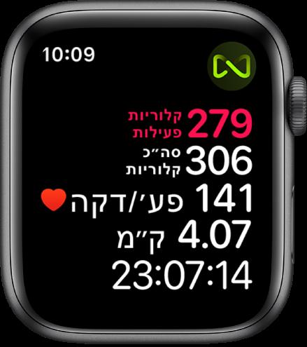 מסך של היישום ״אימון״, עם פירוט המדדים של אימון על הליכון. סמל בפינה הימנית העליונה מציין שה‑AppleWatch מחובר להליכון בחיבור אלחוטי.