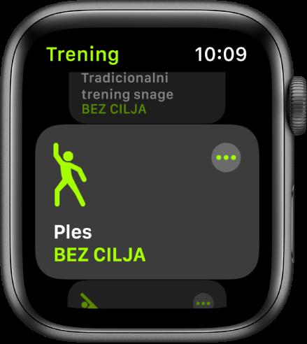 Zaslon Treninga s istaknutim treningom plesanja.