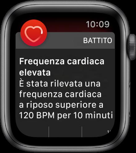 """La schermata """"Frequenza cardiaca elevata"""" che mostra una notifica perché il battito cardiaco ha superato i 120 bpm durante un periodo di inattività di 10 minuti."""