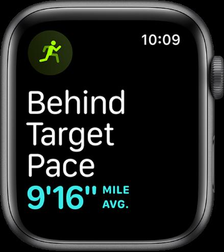 """""""Workout"""" ekranas, kuriame nurodoma, kad bėgate lėčiau nei tikslinis greitis."""
