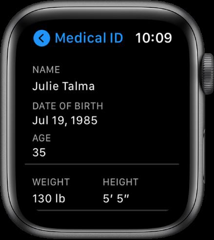 """Ekranas """"MedicalID"""", kuriame rodomas naudotojo vardas, gimimo data, amžius, svoris ir ūgis."""