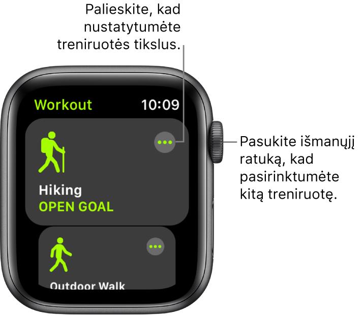 """""""Workout"""" ekranas, kuriame pažymėta treniruotė """"Hiking"""". Viršuje dešinėje pateiktas papildomos informacijos mygtukas. Apačioje rodoma treniruotės """"Outdoor Walk"""" rodinio dalis."""
