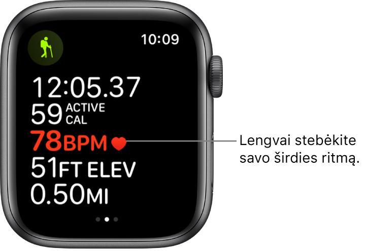 Ekranas, kuriame pateikta treniruotės statistika, įskaitant praėjusį laiką ir širdies ritmą.