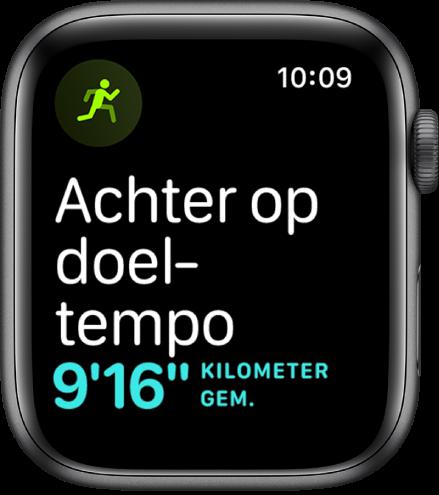 Een Work-out-scherm waarop wordt aangegeven dat je langzamer gaat dan je doeltempo.