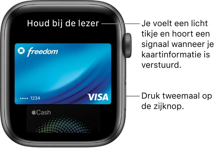 Apple Pay-scherm met bovenin 'Houd bij de lezer'; je voelt een licht tikje en hoort een geluidssignaal wanneer je kaartgegevens zijn verstuurd.
