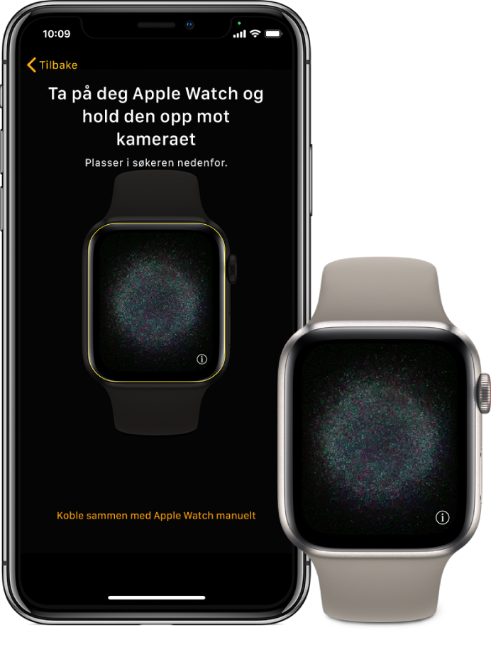 En iPhone og Apple Watch som viser sammenkoblingsskjermene.