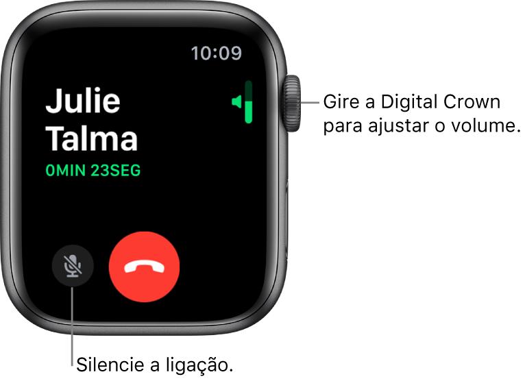 Durante uma ligação recebida, a tela mostra o indicador de volume horizontal na parte superior direita, o botão Mudo na parte inferior esquerda e o botão vermelho Recusar. A duração da ligação aparece abaixo do nome da pessoa que ligou.