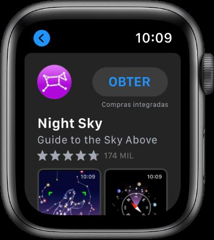 AppleWatch, com a aplicação App Store. É apresentado um campo de pesquisa na parte superior do ecrã, com uma coleção de aplicações por baixo.