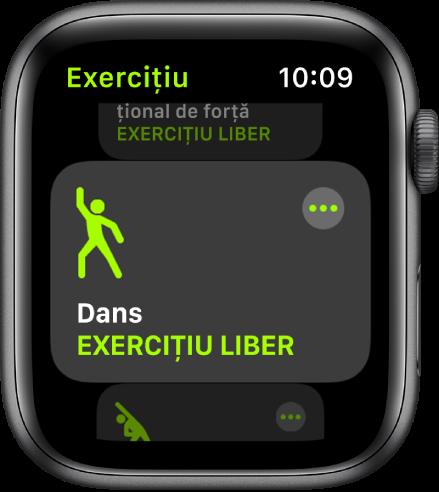 Ecranul Exerciții cu exercițiul Dans evidențiat.