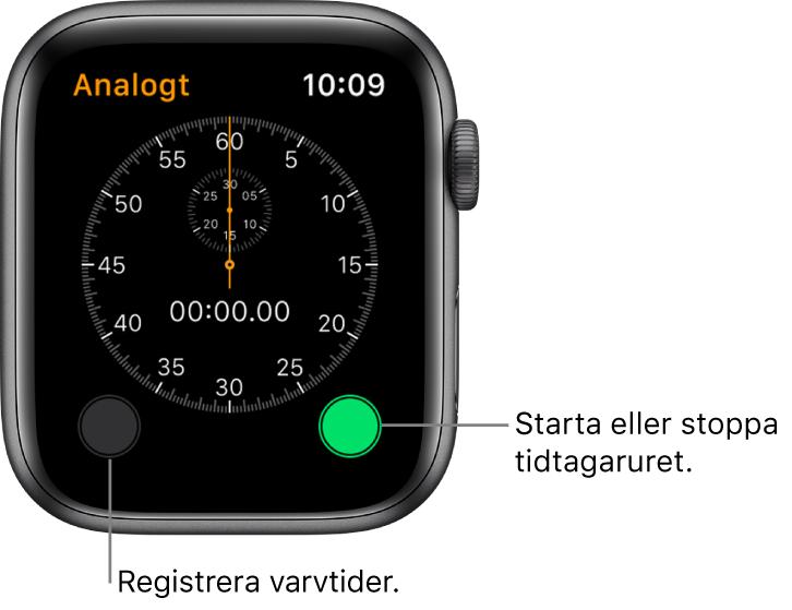 Skärm med analogt tidtagarur. Stoppa och starta klockan med knappen till höger och registrera varvtider med knappen till vänster.