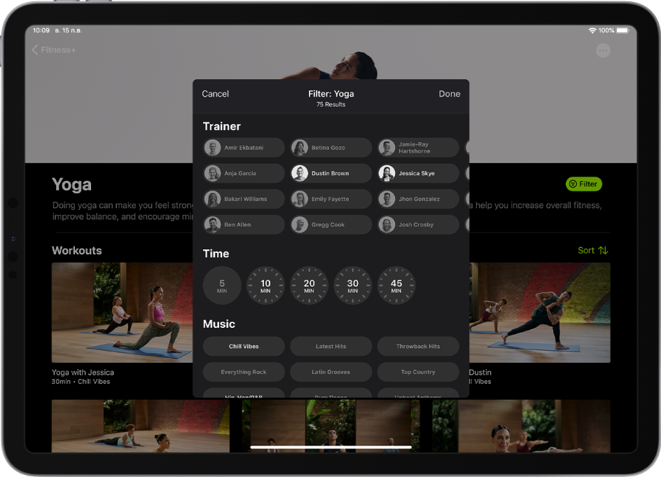 iPad ที่แสดงตัวเลือกการฟิลเตอร์สำหรับการเล่นโยคะออกกำลังกายใน Fitness+