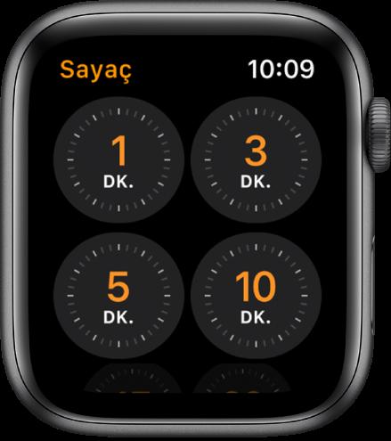 1, 3, 5 ve 10 dakikalık hızlı sayaçlar gösteren Sayaç uygulaması ekranı.