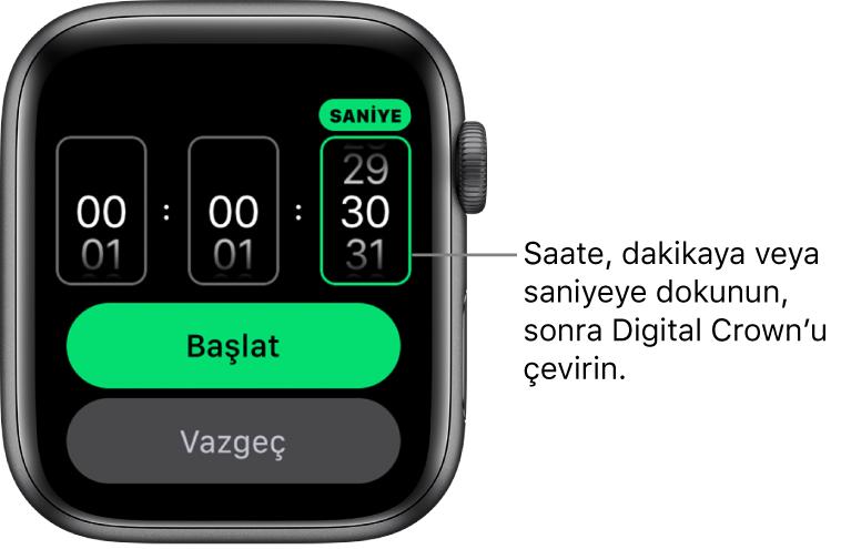 Solda saat, ortada dakika ve sağda saniye ile özel bir sayaç yaratma ayarları. Başlat ve Vazgeç düğmeleri aşağıda.