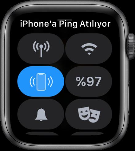 Sol ortada iPhone'a Ping At düğmesinin gösterildiği Denetim Merkezi.