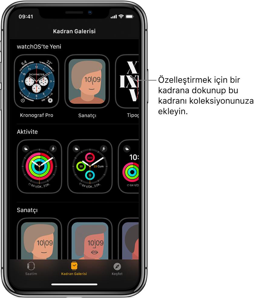 Kadran Galerisi'nin açık olduğu AppleWatch uygulaması. En üst satır yeni kadranları, bir sonraki satır türe göre gruplanmış saat kadranlarını (örneğin Aktivite ve Sanatçı) gösteriyor. Türe göre gruplanmış diğer kadranları görmek için kaydırabilirsiniz.