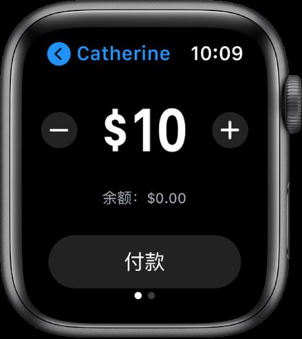 """""""信息""""屏幕显示正准备支付 AppleCash。位于顶部的美元金额左右两侧包含减号和加号按钮。当前余额位于下方,""""支付""""按钮位于底部。"""