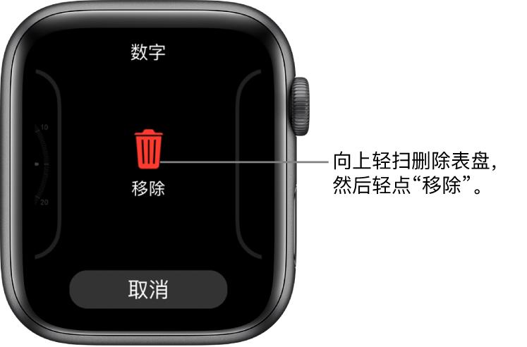 "Apple Watch 屏幕上显示的""移除""和""取消""按钮,在轻扫到某个表盘并向上轻扫该表盘以删除它时,这两个按钮会出现。"