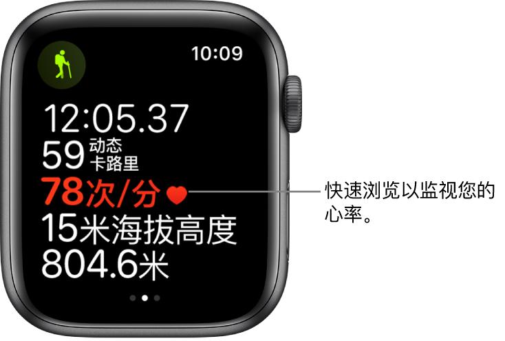 屏幕显示体能训练统计数据,包括耗时和心率。