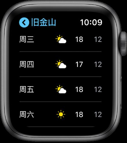 """显示本周天气预报的""""天气"""" App。"""