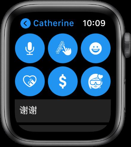 """""""信息""""屏幕显示 Apple Pay 按钮,以及""""听写""""、""""随手写""""、""""表情符号""""、""""数码点触""""和""""拟我表情""""按钮。"""