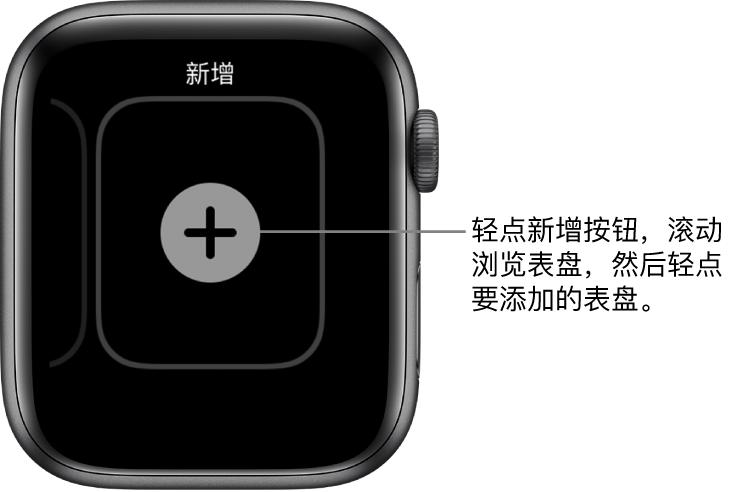 新表盘屏幕中间有一个加号按钮。轻点以添加新表盘。