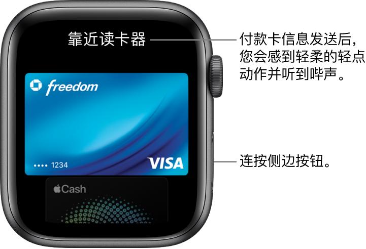 """Apple Pay 屏幕顶部为""""靠近读卡器"""";付款卡信息发送后,您会感到轻柔的轻点动作并听到哔声。"""