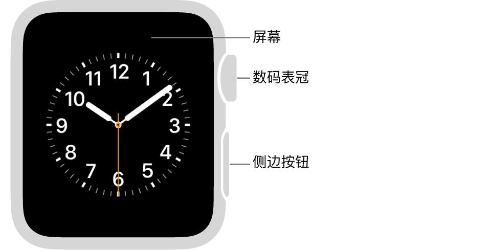 Apple Watch Series 3 的正面,屏幕显示表盘,手表侧边是数码表冠和侧边按钮。