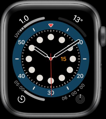 """""""正计时""""表盘。它显示四个复杂功能:紫外线指数(左上方)、气温(右上方)、计时器(左下方)和健身记录(右下方)。"""