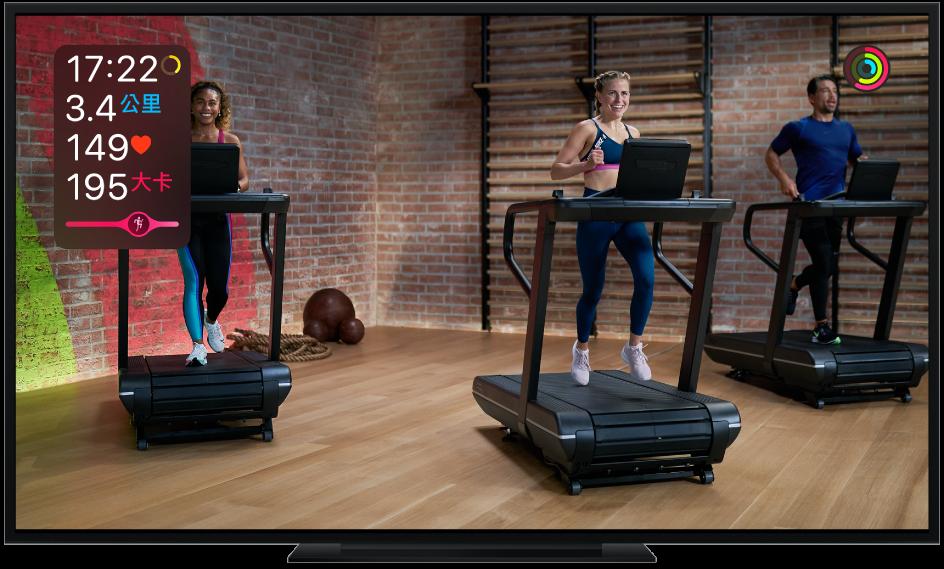 電視顯示 Apple Fitness+ Treadmill(跑步機)體能訓練,並在螢幕上顯示剩餘時間、距離、心率、消耗的卡路里,以及「燃脂進度列」。