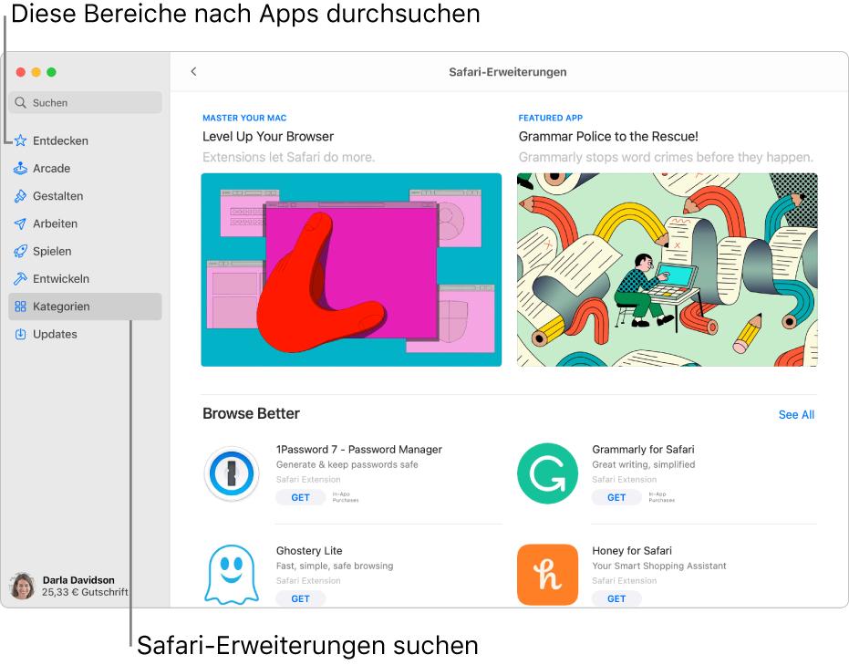 """Die Seite """"Safari-Erweiterungen"""" des Mac App Store. Die Seitenleiste auf der linken Seite enthält Links zu anderen Seiten: Entdecken, Arcade, Erstellen, Arbeiten, Spielen, Entwickeln, Kategorien und Updates. Auf der rechten Seite befinden sich die verfügbaren Safari-Erweiterungen."""