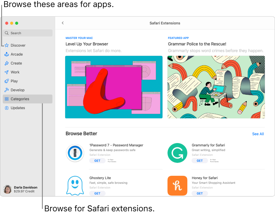 The Safari Extensions Mac App Store page. The sidebar on the left includes links to other pages: Discover, Arcade, Create, Work, Play, Develop, Categories, and Updates. On the right are available Safari extensions.
