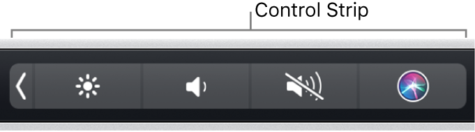 The collapsed Control Strip at the right end of the Touch Bar.