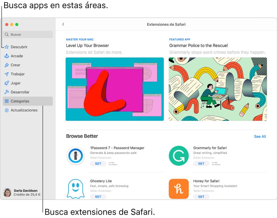 La página de extensiones de Safari de Mac AppStore. La barra lateral de la izquierda incluye enlaces a otras páginas: Descubrir, Arcade, Crear, Trabajar, Jugar, Desarrollar, Categorías y Actualizaciones. En la parte derecha están las extensiones de Safari disponibles.
