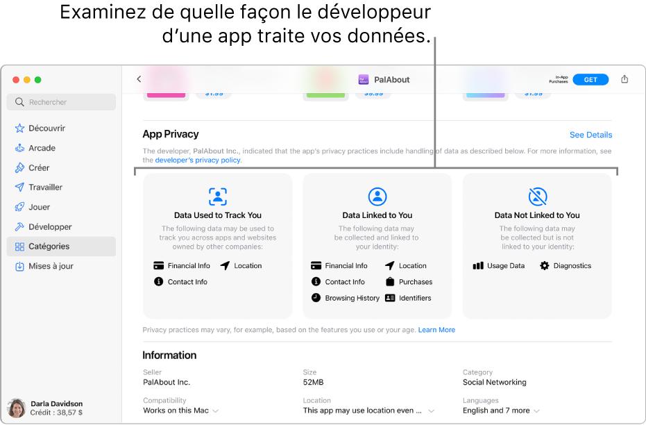 Une partie de la page principale du MacAppStore, qui affiche la politique de confidentialité du développeur de l'app sélectionnée: Données utilisées pour vous suivre, Données sur vous et Données anonymes.