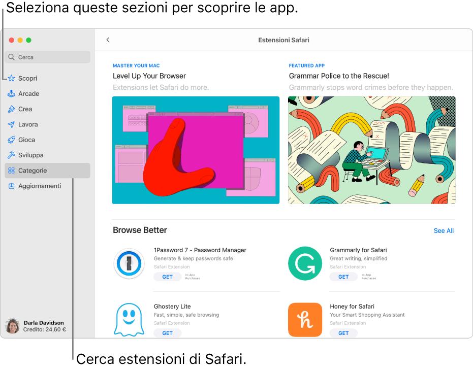 La pagina di App Store sul Mac delle estensioni di Safari. La barra laterale a sinistra presenta link ad altre sezioni, come Scopri, Arcade, Crea, Lavoro, Giochi, Per sviluppatori, Categorie e Aggiornamenti. A destra, si trovano le estensioni di Safari disponibili.