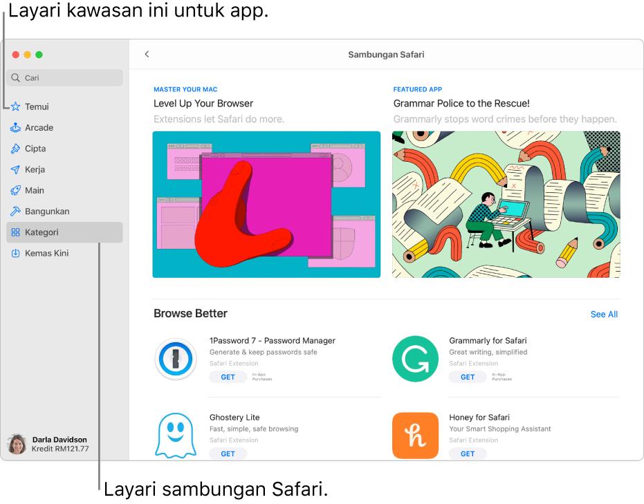 Halaman Mac App Store Sambungan Safari. Bar sisi di sebelah kiri termasuk pautan ke halaman lain: Temui, Arcade, Cipta, Kerja, Main, Bangunkan, Kategori dan Kemas Kini. Di sebelah kanan ialah sambungan Safari yang tersedia.