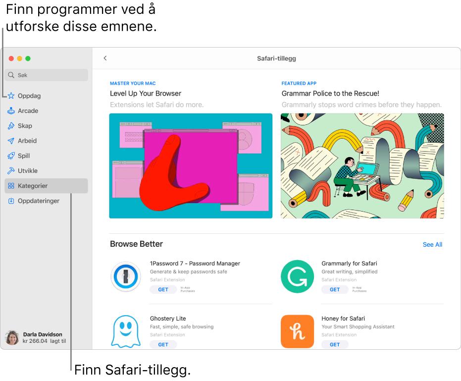 Siden for Safari-tillegg i Mac App Store. Sidepanelet til venstre inneholder lenker til andre sider: Oppdag, Arcade, Skap, Arbeid, Spill, Utvikle, Kategorier og Oppdateringer. Til høyre er tilgjengelige Safari-tillegg.