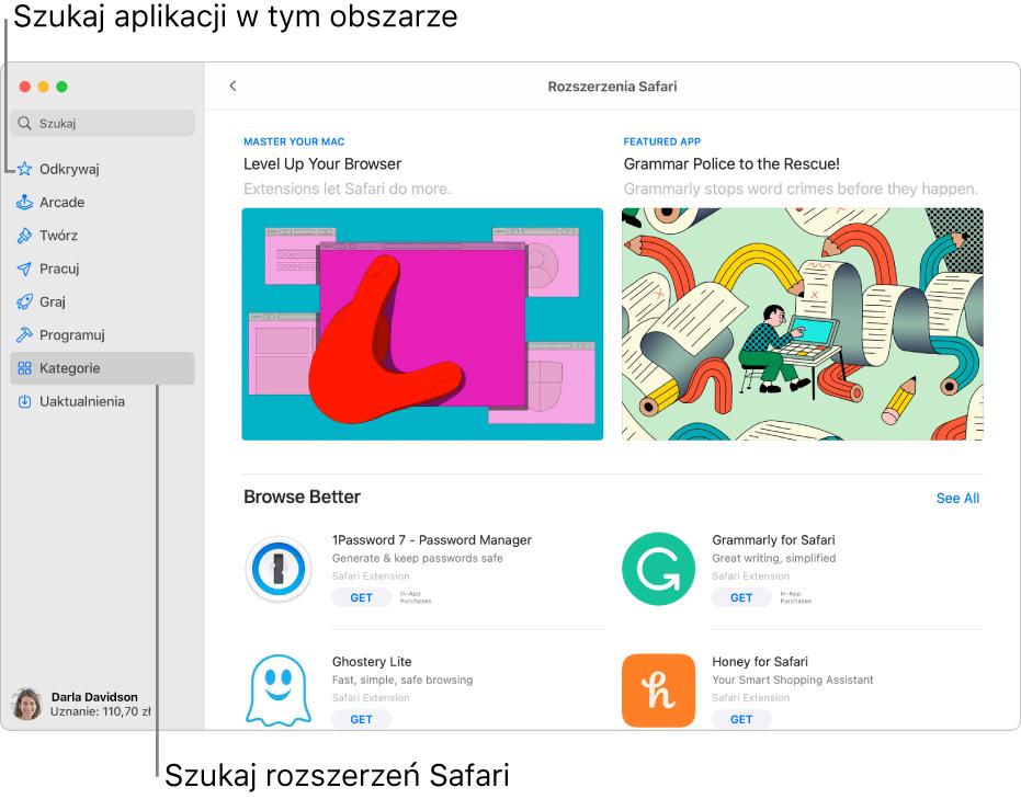 Strona zrozszerzeniami Safari wMac App Store. Pasek boczny po lewej zawiera łącza do innych stron: Odkrywaj, Arcade, Twórz, Pracuj, Graj, Programuj, Kategorie iUaktualnienia. Po prawej dostępne są rozszerzenia Safari.