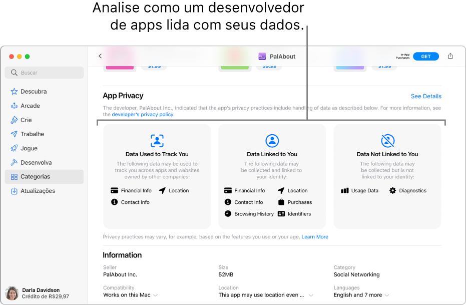 Uma parte da página principal da Mac App Store, mostrando a política de privacidade do desenvolvedor do app selecionado: Dados Usados para Rastrear Você, Dados Vinculados a Você, e Dados Não Vinculados a Você.