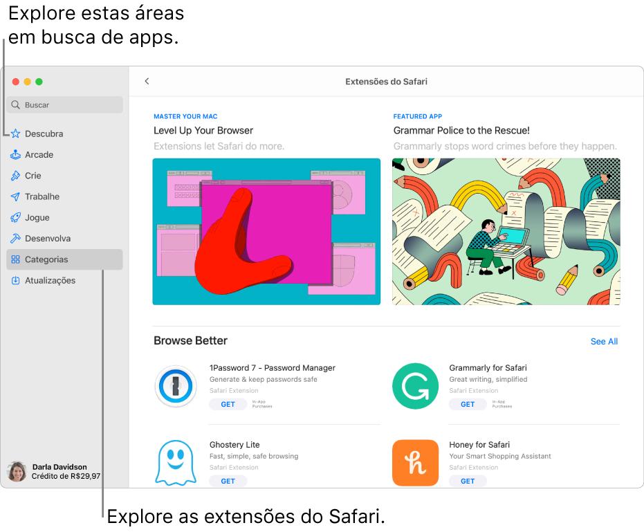 A página Extensões do Safari na Mac App Store. A barra lateral à esquerda inclui links para outras páginas: Descubra, Arcade, Crie, Trabalhe, Jogue, Desenvolva, Categorias e Atualizações. À direita, as extensões disponíveis do Safari.