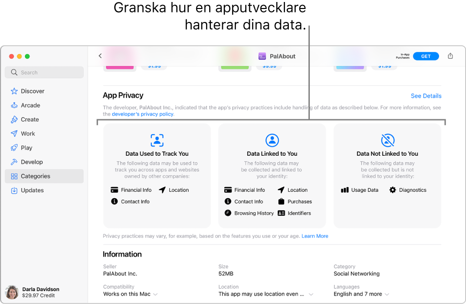 En del av huvudsidan i Mac App Store som visar integritetspolicyn för den valda appens utvecklare: Data används till att spåra dig, data länkas till dig och data länkas inte till dig.