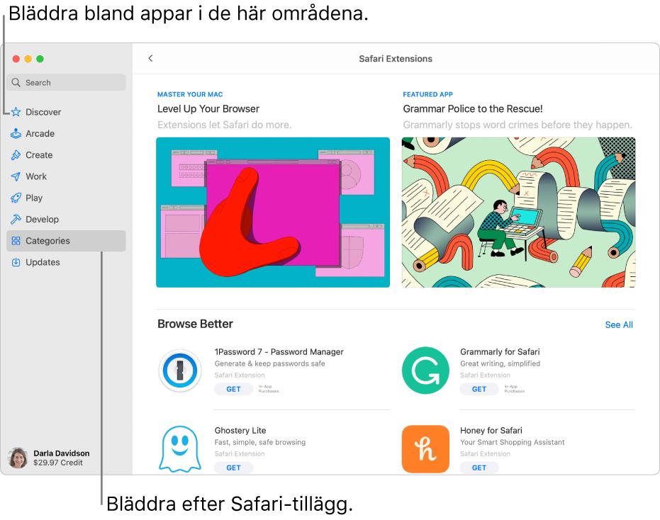 Sidan för Safari-tillägg i Mac App Store. I sidofältet till vänster finns länkar till andra sidor: Upptäck, Arcade, Skapa, Arbeta, Spela, Utveckla, Kategorier och Uppdatera. Till höger finns tillgängliga Safari-tillägg.
