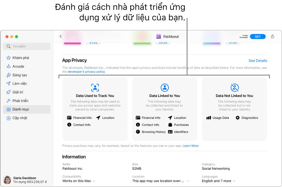 Một phần của trang Mac App Store chính, đang hiển thị chính sách quyền riêng tư của nhà phát triển của ứng dụng được chọn: Dữ liệu được sử dụng để theo dõi bạn, Dữ liệu được liên kết với bạn và Dữ liệu không được liên kết với bạn.
