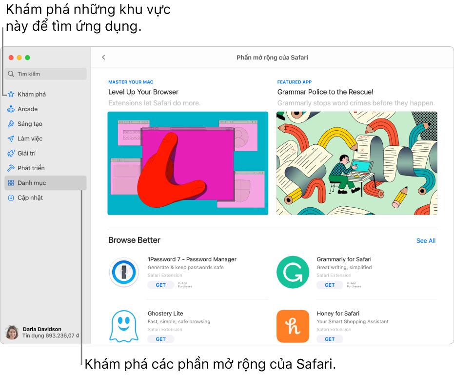 Trang Phần mở rộng của Safari trên Mac App Store. Thanh bên ở bên trái bao gồm các liên kết đến các trang khác: Khám phá, Arcade, Sáng tạo, Làm việc, Giải trí, Phát triển, Danh mục và Cập nhật. Ở bên phải là các phần mở rộng có sẵn trong Safari.