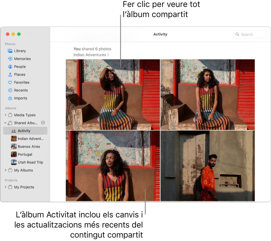 La finestra de l'app Fotos amb la vista Activitat seleccionada a la barra lateral i l'àlbum Activitat a la dreta.