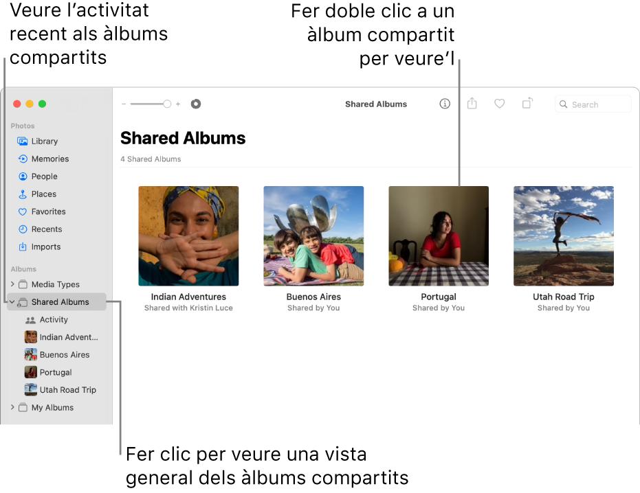 """La finestra de l'app Fotos on es mostra la vista """"Àlbums compartits"""" seleccionada a la barra lateral i els àlbums compartits a la dreta."""